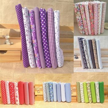 Hot Selling 7Pcs/Set Quilting Fabric Floral Cotton Cloth DIY Craft Sewing Handmade Accessory