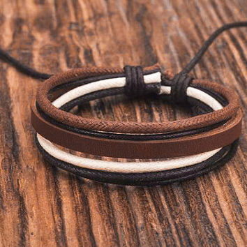 Men's Leather Bracelet, Women's Leather and Hemp Bracelet, Adjustable Unisex Design JLA-50