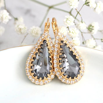 Gray Earrings, Dark Gray Drop Earrings, Crystal Bridal Drop Gray Earrings, Bridesmaids Earrings, Gift For Her, Bridal Gray Gold Earrings