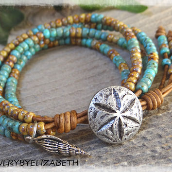 Beaded Leather Wrap Bracelet/ Seed Bead Leather Bracelet/ Sea Wrap Bracelet/ Boho Wrap Bracelet/ Beaded Wrap Bracelet/ Seed Bead Jewelry.