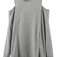 Light Gray Cold Shoulder Long Sleeve Top