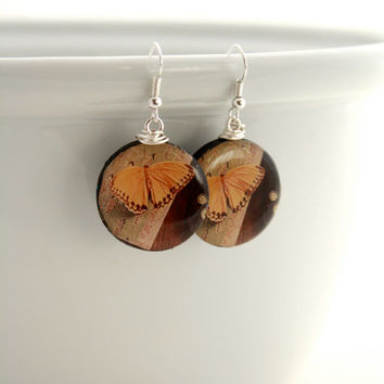 Vintage Inspired Butterfly Earrings - Fine Art Photography Original Art Jewely