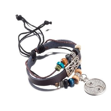 Vintage Leather Bracelet Charm jewelry For Woman