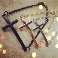 Gold/Silver/Black Cross Bracelet