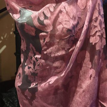 Vitage Styled brocade Sheer pink wrap Shawl
