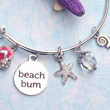 beach bum bangle bracelets, flipflop charm bracelet, beach bracelets, ocean jewelry, nautical jewelry, expandable bracelet, bangle bracelet