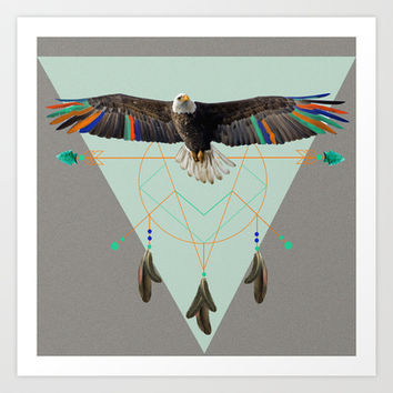 The indian eagle is watching over Po's dreamcatcher Art Print by AmDuf