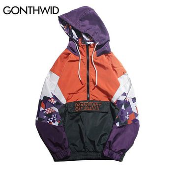 GONTHWID Hip Hop Color Block Patchwork Embroidery Half Zip Hooded Jackets 2018 Autumn Men Casual Pullover Hoodie Coat Streetwear