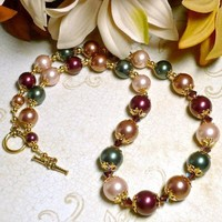 Burgundy Forest Green Gold Cream Large Shell Pearl 20 inch Necklace