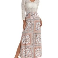 White Combo Scarf Print Double Slit Maxi Skirt by Charlotte Russe