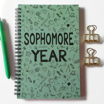 Writing journal, spiral notebook, sketchbook, bullet journal, high school, college, graduation gift, blank lined grid - Sophomore year