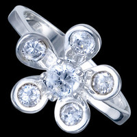 Silver ring, CZ, floral design