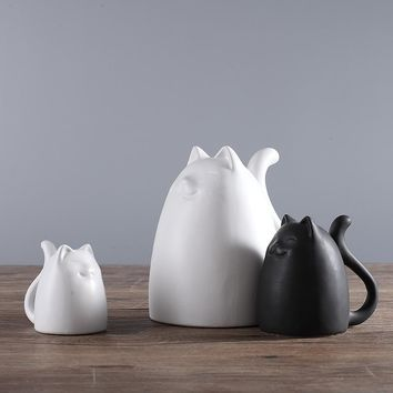 3pcs/Set Black and White Ceramic Cats Figurine European Modern Style
