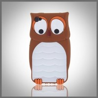 """Leegoal Brown & White Owl """"Flexa"""" flexible silicone soft skin case cover for Apple iPhone 4 4G 4S"""