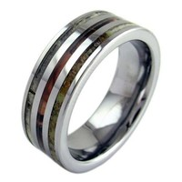 Newly Listed Men's Silver Tungsten Carbide Triple Inlay Deer Antler Camo 8mm Wedding Engagement Anniversary Men Jewelry Gifts Accessories sz 9-13