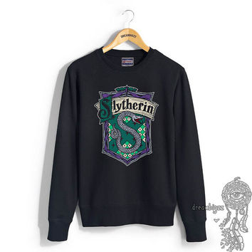 Slytherin Crest #2 Fullcolor printed on Black Crew neck Sweatshirt