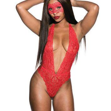Shirley of Hollywood Floral Lace Teddy w/Mask Red