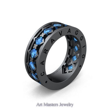 Caravaggio Mens Modern 14K Grey Gold Princess Blue Topaz Wedding Band R313M-14GGBT