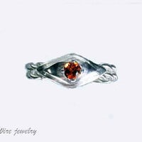 Silver ring with spessartite garnet