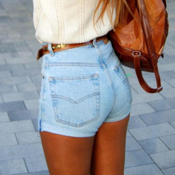 Womens denim high waisted shorts