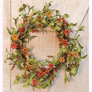Primitive Burlap Flower Wreath