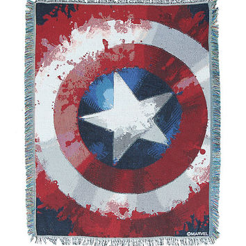 Marvel Avengers Assemble Captain America Shield Woven Tapestry Throw
