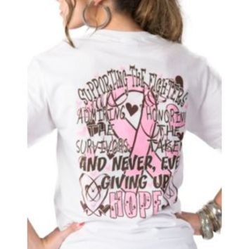 "Girlie Girl Originals Ladies White ""Think Pink"" Breast Cancer Awareness Tee"