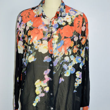 COVET Sheer Floral Button Down Shirt Top Size XL