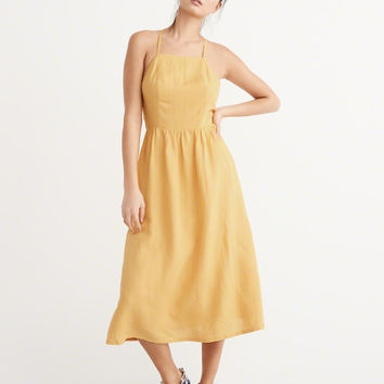 Womens Linen Blend Square Neck Midi Dress | Womens Dresses & Rompers | Abercrombie.com