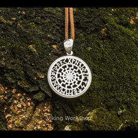 Black Sun Symbol with Runic Calendar Necklace Amulet Sterling Silver Pendant Pagan Jewelry