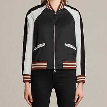 ALLSAINTS CA: Womens Atley Bomber Jacket (BLACK/LUNA BLUE)