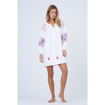 Ashley Embroidered Dress - Resort White With Sapphire/Tangerine/ Watermelon Embroidery