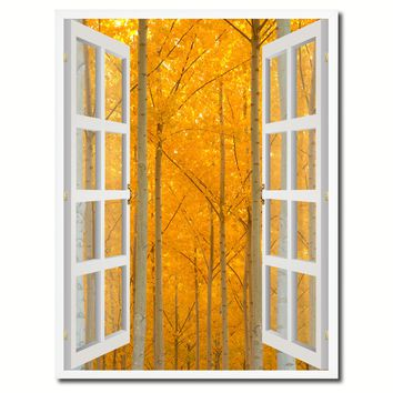 Autumn Yellow Trees Picture French Window Canvas Print with Frame Gifts Home Decor Wall Art Collection
