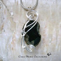 Black Agate Nugget Wire Wrapped Pendant Necklace in Silver
