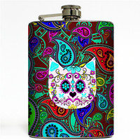 Paisley Cat Flask 8oz Stainless Steel Hip Trippy Container Sugar Skull Kitty