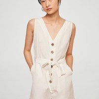 Bow linen jumpsuit - Women | MANGO USA