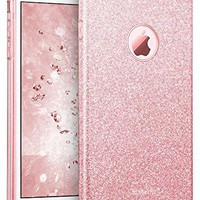 "iPhone 7 Plus Case, ESR Bling Glitter Sparkle Three Layer Shockproof Soft TPU Outer Cover + Hard PC Inner Protective Shell Skin for Apple 5.5"" iPhone 7 Plus (Rose Gold)"
