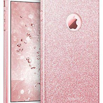 "ESR sd06 iPhone 7 Plus Case, Bling Glitter Sparkle Three Layer Shockproof Soft TPU Outer Cover + Hard PC Inner Protective Shell Skin for Apple 5.5"" iPhone 7 Plus (Rose Gold)"