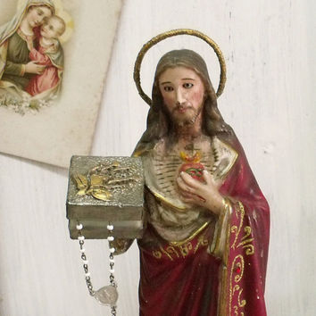 Vintage Jesus Christ statue Rosary case distressed Sacred heart of Jesus figure shabby chic religious