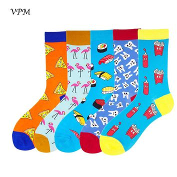 VPM Combed Cotton Men's Socks Colorful Funny Flamingos Sushi Two Size for Eu 35-48 Wedding Sock Christmas Gift 5 Pairs/set