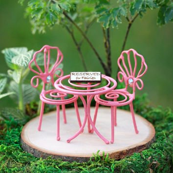 Fairy Garden Furniture TINY bistro set - miniature reserved for fairies for terrarium coral pink