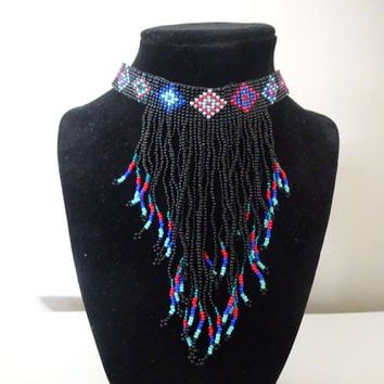 Native American Made Beaded Choker With Fringe - FREE SHIPPING
