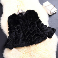 Cool Lady Women's Wave Farm 100% Real Rabbit Fur Coat Jacket Outwear Beauty