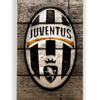 Wood With Juventus Fc Logo for Iphone 4 / 4s Hard Cover Plastic