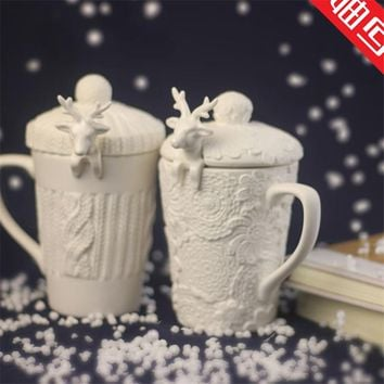 Christmas Mugs 3D Amimal Couples Cups with Lid Cute Milu Deer Coffee Cup Milk Cups Snow Ceramic Mug Breakfast Cup Creative Gift