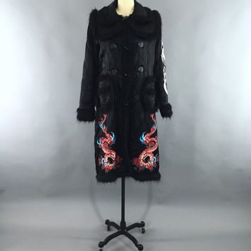Vintage Black Satin Quilted Coat / Embroidered Dragons – ThisBlueBird - Modern Vintage