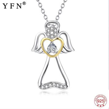 Genuine 925 Sterling Silver Angel With Wings Crystal CZ Love Heart Hollow Pendants Necklaces Jewelry Women Fashion Gift PYX0177