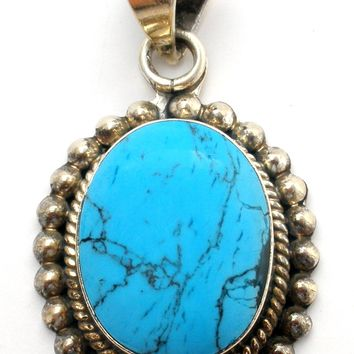 Taxco Turquoise Sterling Silver Pendant Slide