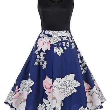 B| Chicloth Rockabilly White Flower Print Ball Gown Knee Length Summer Dress