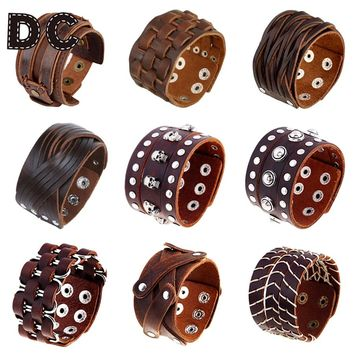 DC Vintage Punk Big Wide Brown Genuine Leather Braid Wrap Bracelet Bangle Wristband Cuff Snap Clasps for Male Men Jewelry Gifts